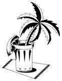 Vetro in bianco e nero con la palma royalty illustrazione gratis