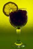vetro con i mirtilli e l'arancio Fotografia Stock