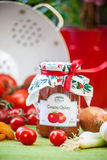 Vetro con il chutney e la decorazione del pomodoro Fotografia Stock