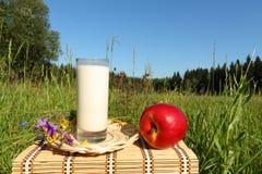 Vetro con latte Immagini Stock Libere da Diritti