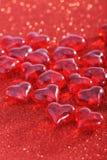 Vetro-cuori rossi Fotografie Stock Libere da Diritti