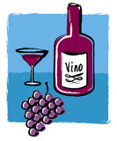 Vetro da bottiglia ed uva del vino Fotografie Stock