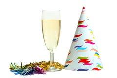 Vetro degli elementi di festa e del champagne Fotografie Stock