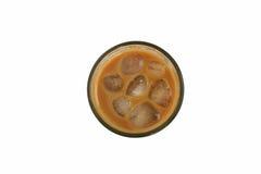 Vetro del caffè di ghiaccio, vista superiore, isolata su fondo bianco Immagine Stock Libera da Diritti