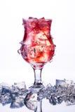 Vetro del cocktail rosso freddo con ghiaccio nel ghiaccio Fotografie Stock Libere da Diritti