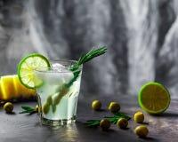 Vetro del cocktail sulla tavola Olive, rosmarini e calce in un g Fotografia Stock Libera da Diritti