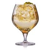 Vetro del cognac isolato su fondo bianco Fotografia Stock Libera da Diritti