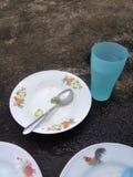 Vetro del cucchiaio del piatto Fotografia Stock