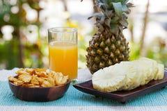 Vetro del frullato dell'ananas, del succo con i chip fritti nel grasso bollente disidratati secchi dell'ananas e della frutta fre Fotografia Stock Libera da Diritti