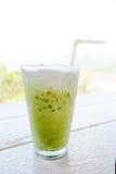 Vetro del ghiaccio del tè verde Fotografia Stock Libera da Diritti