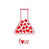 Vetro del laboratorio di amore con i cuori dentro. Carta Immagini Stock