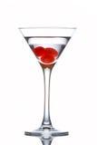 Vetro del Martini con le ciliege Fotografia Stock