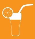 Vetro del succo d'arancia con cannuccia Immagini Stock Libere da Diritti
