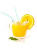 Vetro del succo di arancia naturale Fotografia Stock
