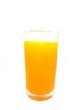 Vetro del succo di arancia su priorità bassa bianca Fotografie Stock Libere da Diritti
