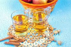 Vetro del succo di mele e mele rosse Fotografia Stock Libera da Diritti