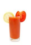 Vetro del succo di pomodoro con il limone Immagini Stock Libere da Diritti