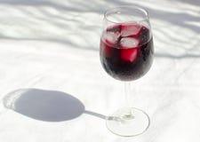 Vetro del vino rosso con ghiaccio Immagine Stock