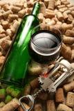 Vetro del vino rosso e bottiglia vuota Fotografia Stock Libera da Diritti