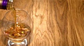 Vetro del whiskey del cognac Fotografia Stock