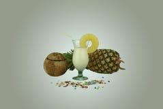 Vetro della bevanda della noce di cocco con una fetta dell'ananas Fotografie Stock