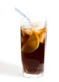 Vetro della bevanda fredda, percorso di residuo della potatura meccanica Fotografie Stock Libere da Diritti