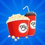 Vetro della carta e del popcorn Fotografia Stock
