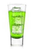 Vetro della limonata di verde dell'agrume con i cubetti di ghiaccio Immagini Stock Libere da Diritti
