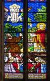 Vetro della macchia San Denis Cathedral, Parigi immagine stock