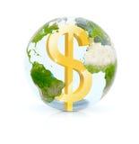 Vetro della terra del dollaro Immagini Stock