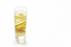 Vetro di acqua con il limone fotografia stock