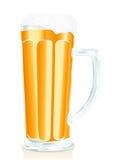 Vetro di birra con gomma piuma Immagini Stock Libere da Diritti