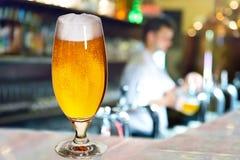 Vetro di birra con il cameriere immagine stock libera da diritti