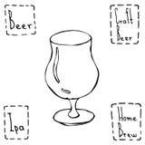 Vetro di birra del tulipano Vettore disegnato a mano Illustraition Immagini Stock