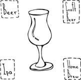 Vetro di birra del tulipano Vettore disegnato a mano Illustraition Fotografia Stock