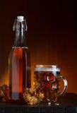 Vetro di birra e della bottiglia con il luppolo Fotografia Stock