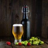 Vetro di birra e della bottiglia di birra con i lamponi ed il luppolo Fotografie Stock Libere da Diritti