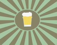 Vetro di birra nel retro tema illustrazione vettoriale