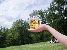 Vetro di birra nella palma Fotografia Stock Libera da Diritti