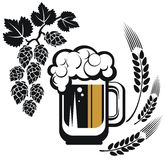 Vetro di birra stilizzato Fotografia Stock Libera da Diritti
