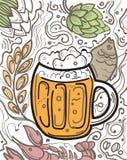 Vetro di birra sui precedenti di scarabocchio Fotografie Stock Libere da Diritti