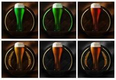 Vetro di birra sul legno e sui precedenti rustici fotografie stock