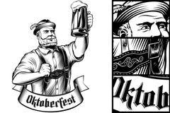 Vetro di birra tedesco dell'uomo di Oktoberfest Lager Foam Engraving Black White Immagini Stock
