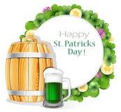 Vetro di birra verde e del barilotto di legno illustrazione di stock