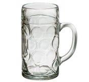 Vetro di birra vuoto isolato su priorità bassa bianca Immagine Stock