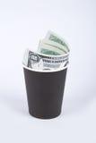 Vetro di carta nero con soldi Fotografia Stock