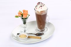 Vetro di cioccolata calda Immagini Stock