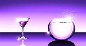Vetro di cocktail e fishbowl illustrazione di stock