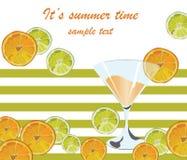 Vetro di cocktail e spruzzata arancio di frutti Fotografia Stock