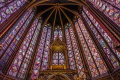 Vetro di finestre macchiato Chapelle del san immagini stock